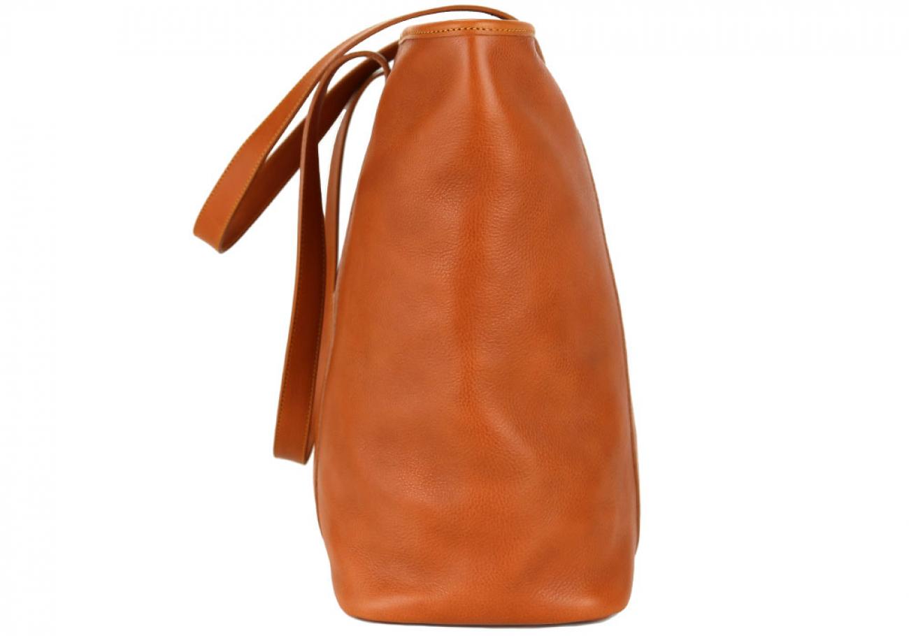 Large Tan Handmade Leather Laurlie Ziptop Tote Bag Made In Usa 3 Raw