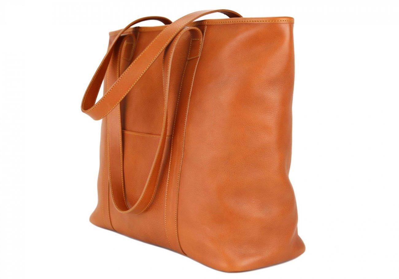 Large Tan Handmade Leather Laurlie Ziptop Tote Bag Made In Usa 4 Raw