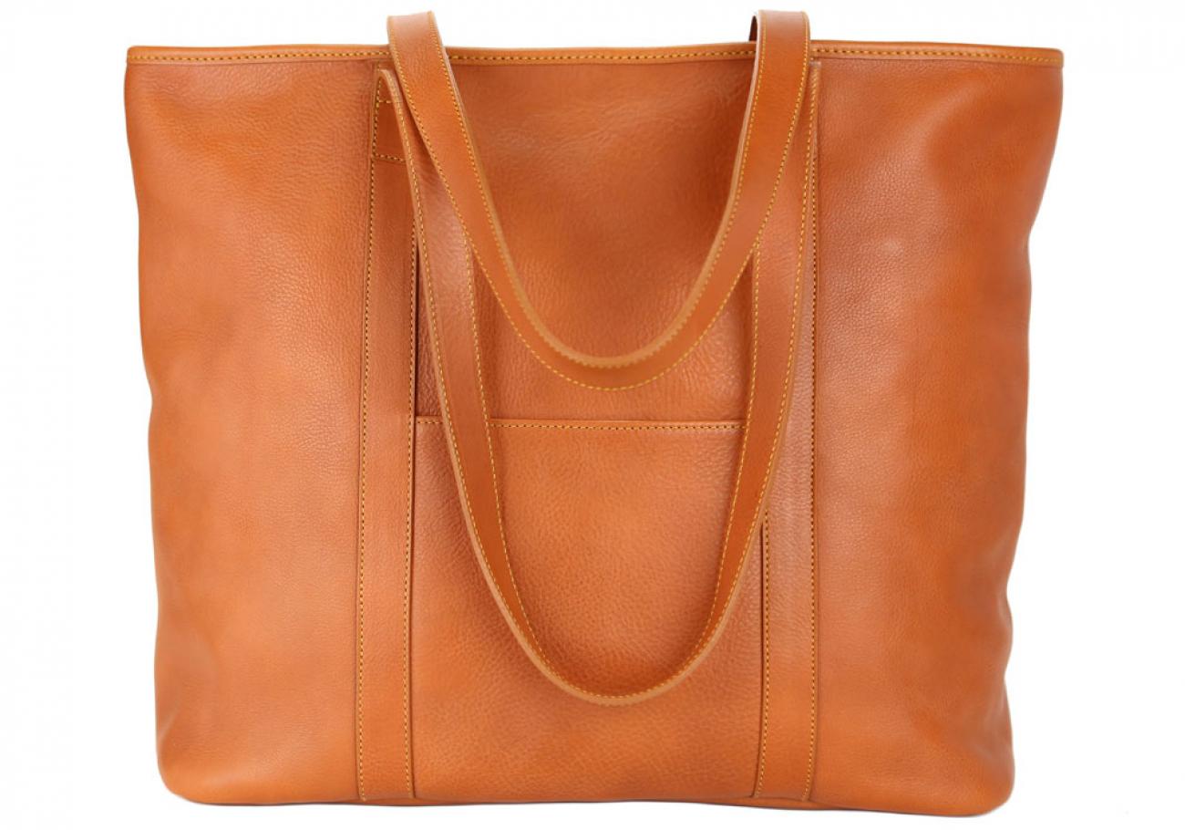 Large Tan Handmade Leather Laurlie Ziptop Tote Bag Made In Usa 5 Raw