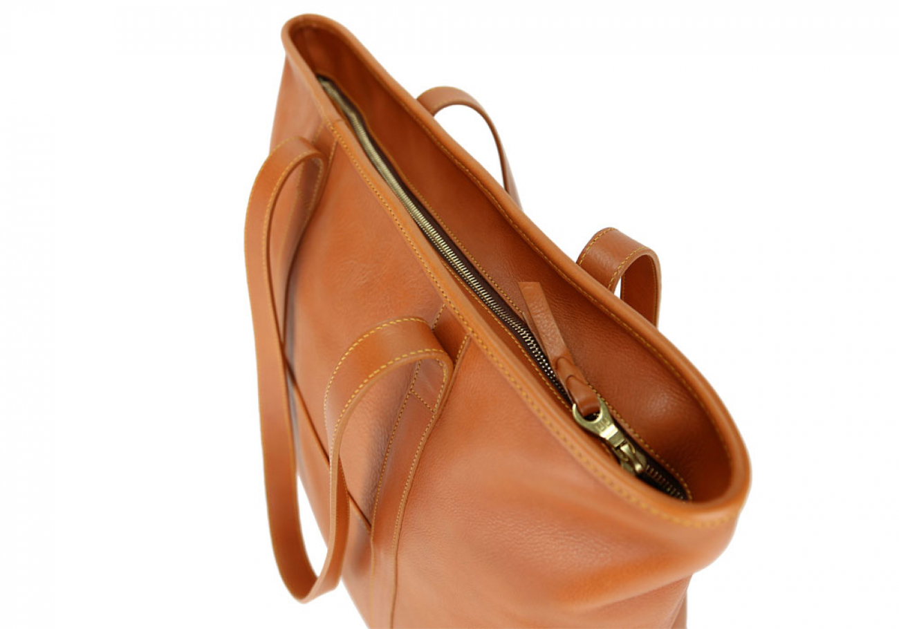 Large Tan Handmade Leather Laurlie Ziptop Tote Bag Made In Usa 6 Raw