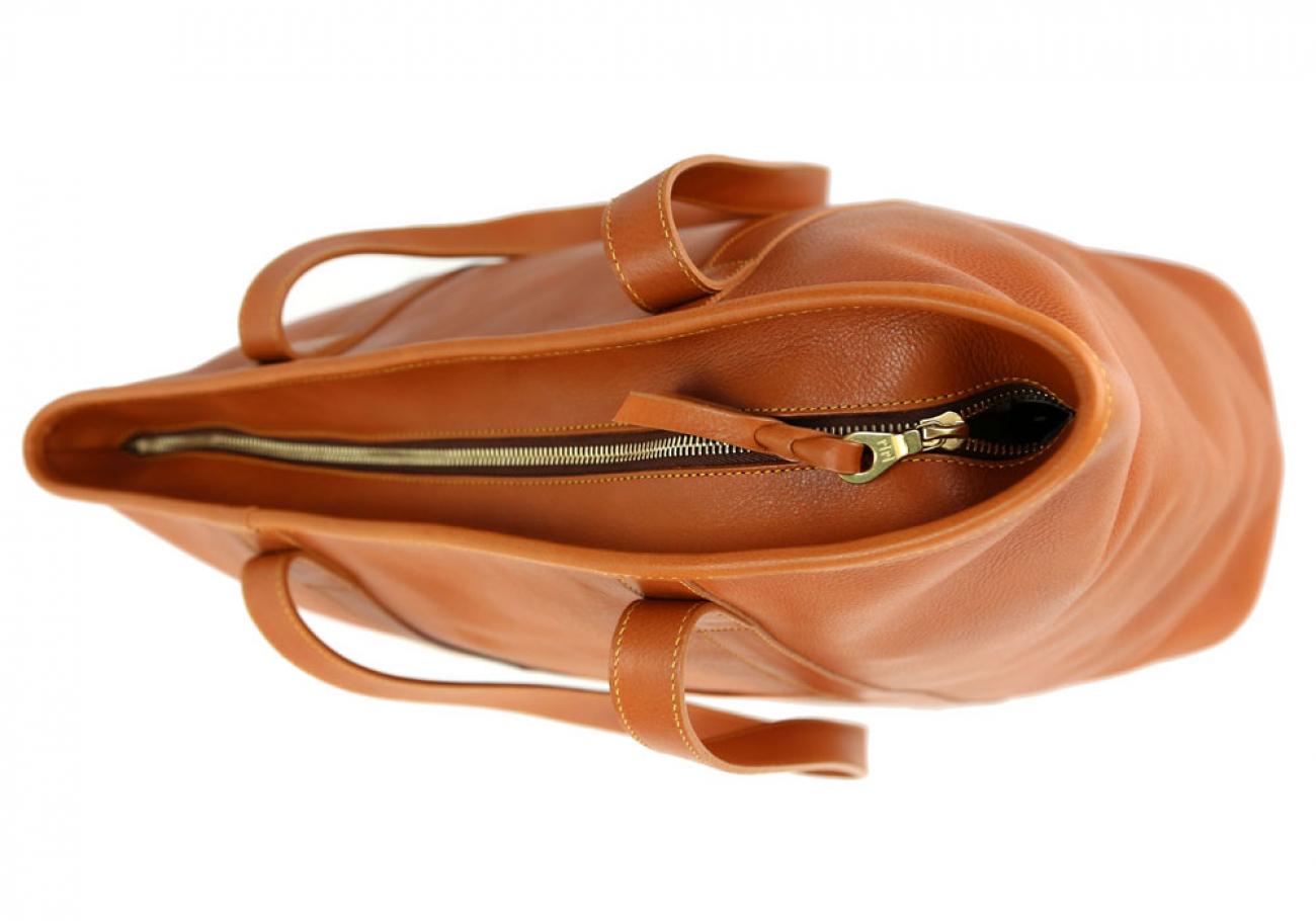Large Tan Handmade Leather Laurlie Ziptop Tote Bag Made In Usa 7 Raw