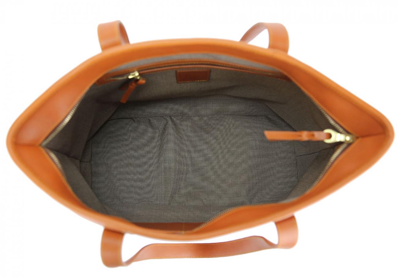Large Tan Handmade Leather Laurlie Ziptop Tote Bag Made In Usa 8 Raw