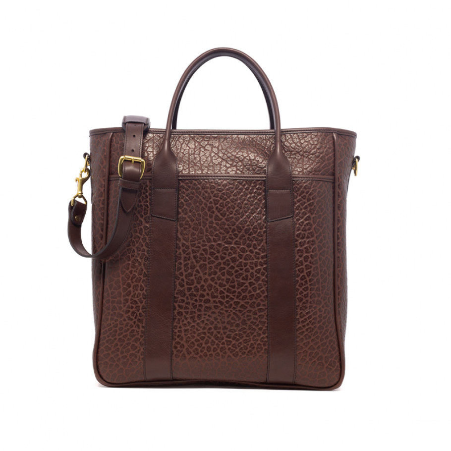 Leather Commuter Tote Chocolate Shrunken Frank Clegg