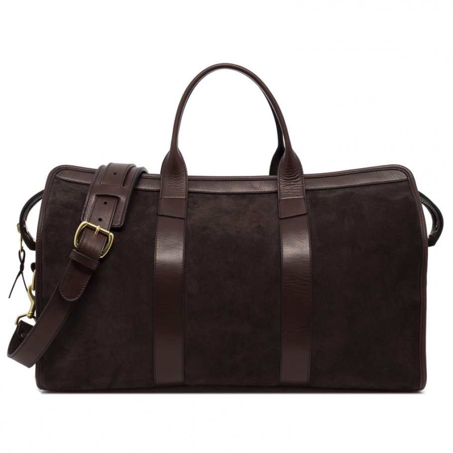 Leather Duffle Bag Suede Chocolate Suede Final