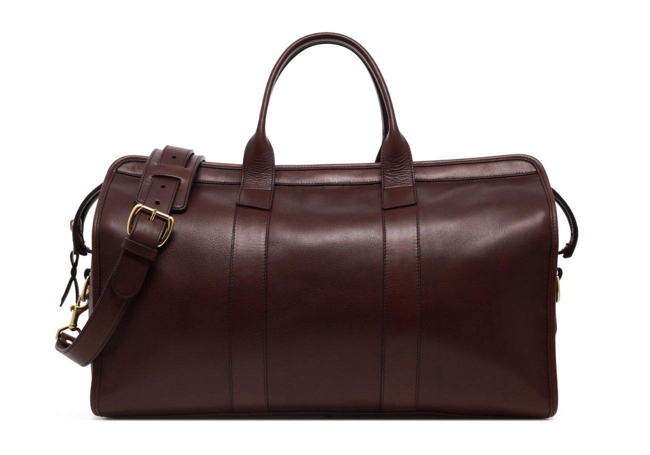 Leather Duffle Bag Tumbled Chocolate Leather N1 1