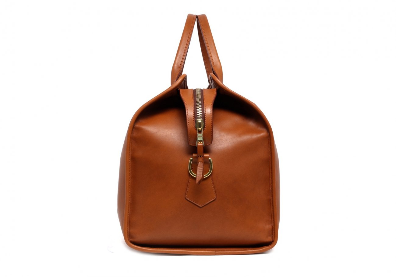 Leather Duffle Bag Tumbled Cognac Leather 1