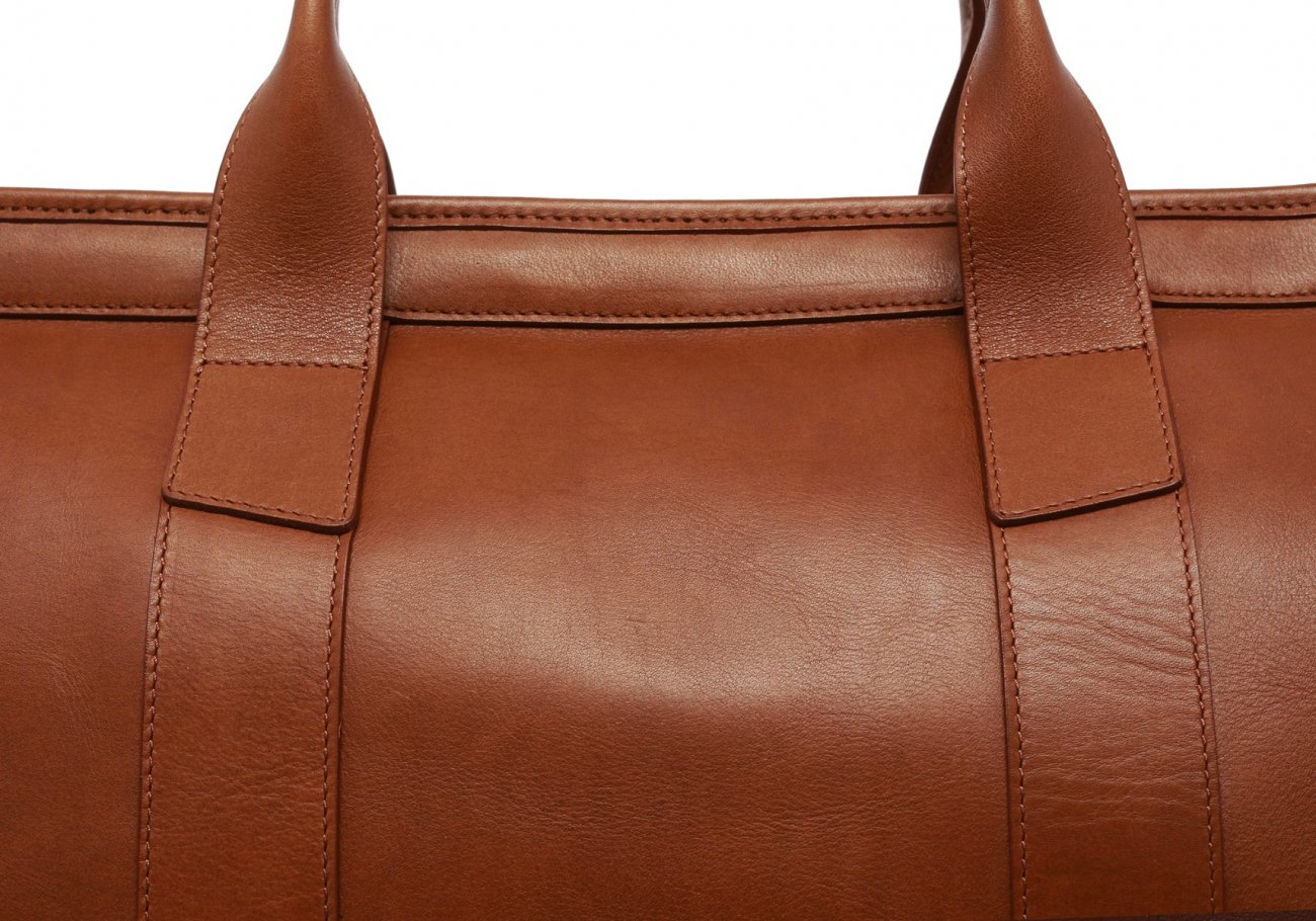 Leather Duffle Bag Tumbled Cognac Leather 2