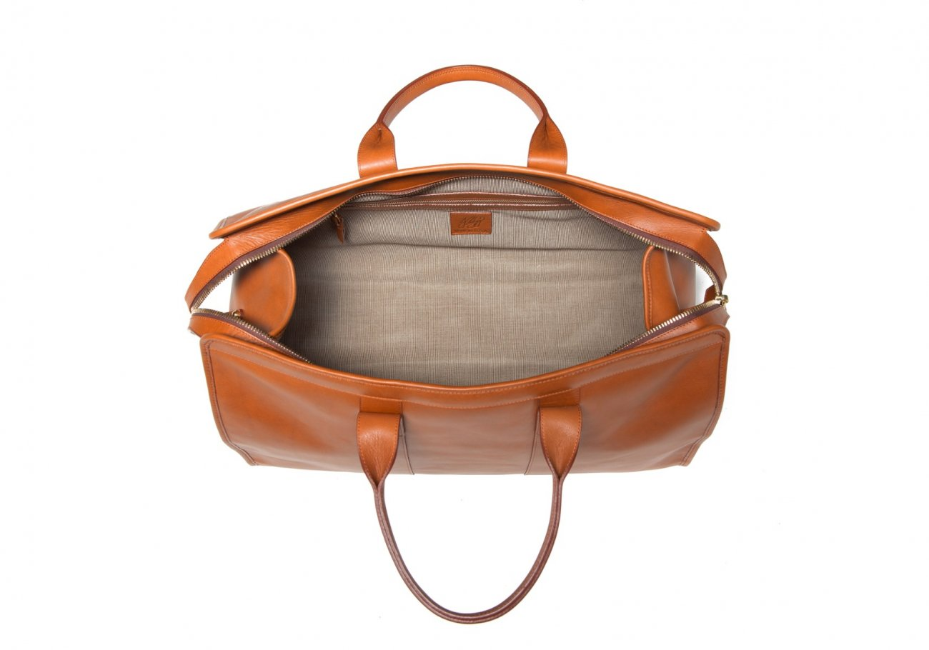 Leather Duffle Bag Tumbled Cognac Leather 3