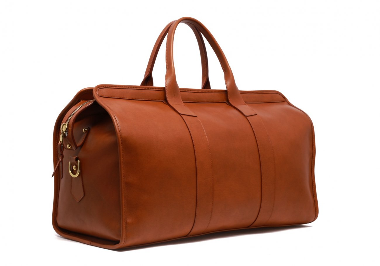 Leather Duffle Bag Tumbled Cognac Leather 5