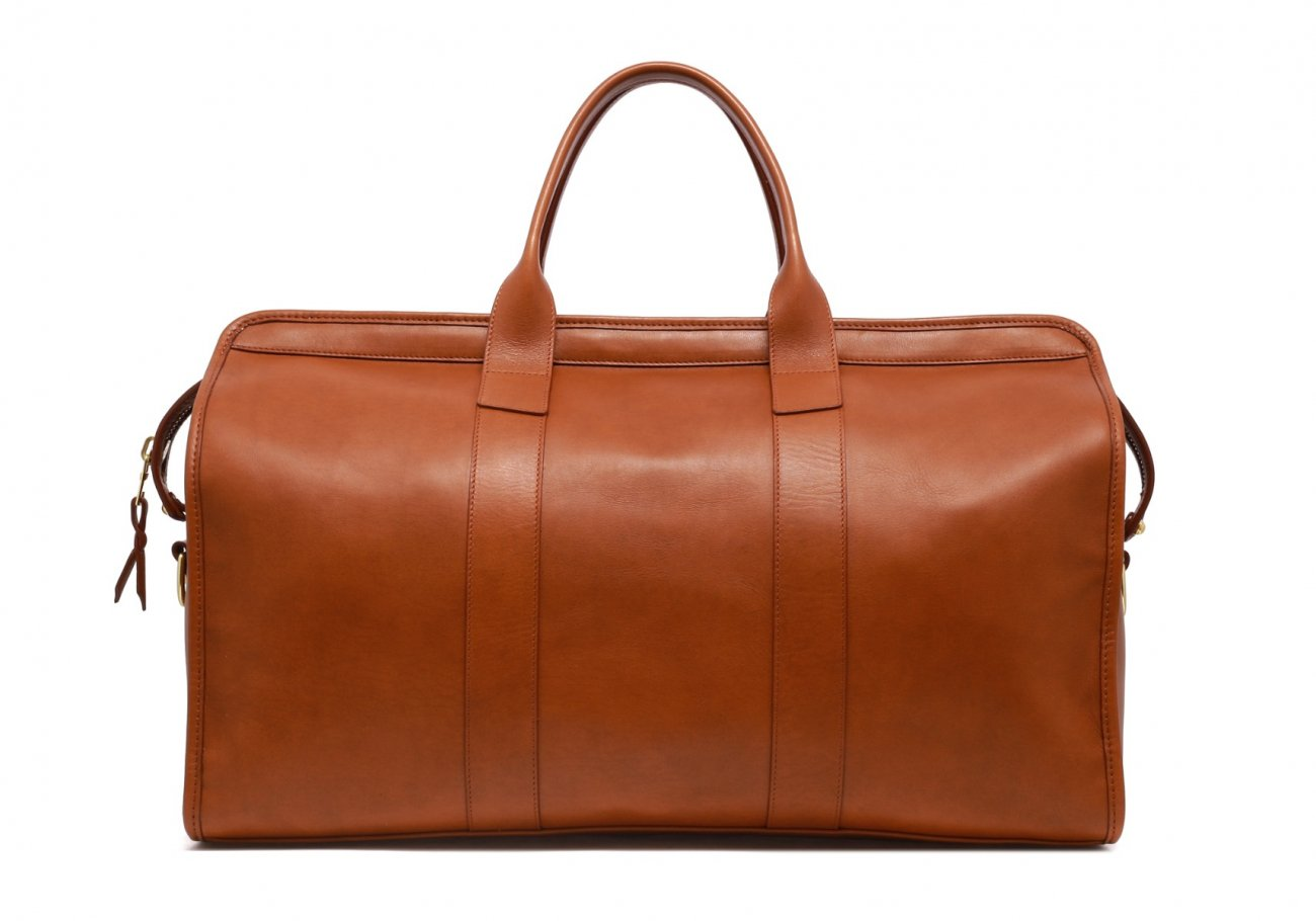 Leather Duffle Bag Tumbled Cognac Leather 6