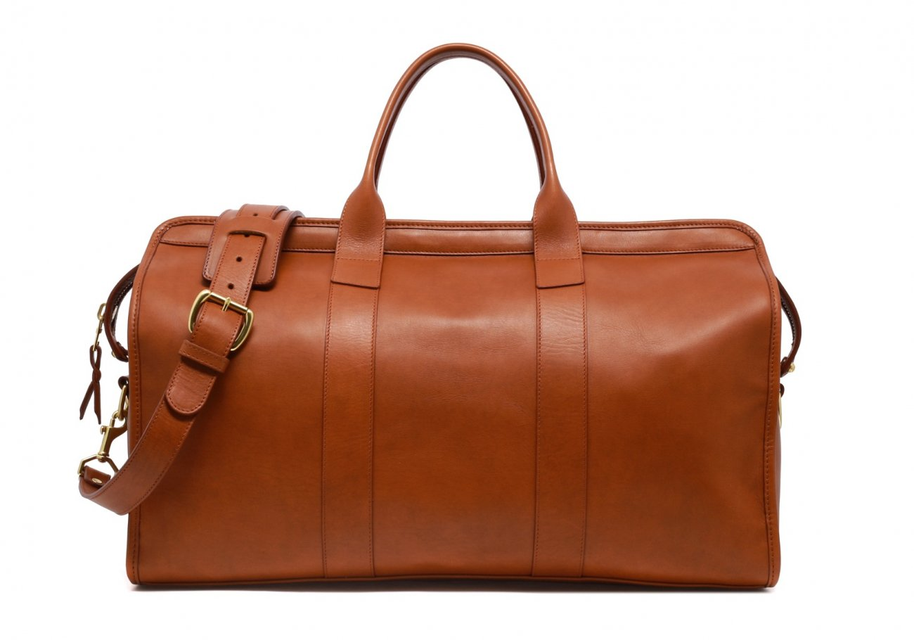 Leather Duffle Bag Tumbled Cognac Leather 7