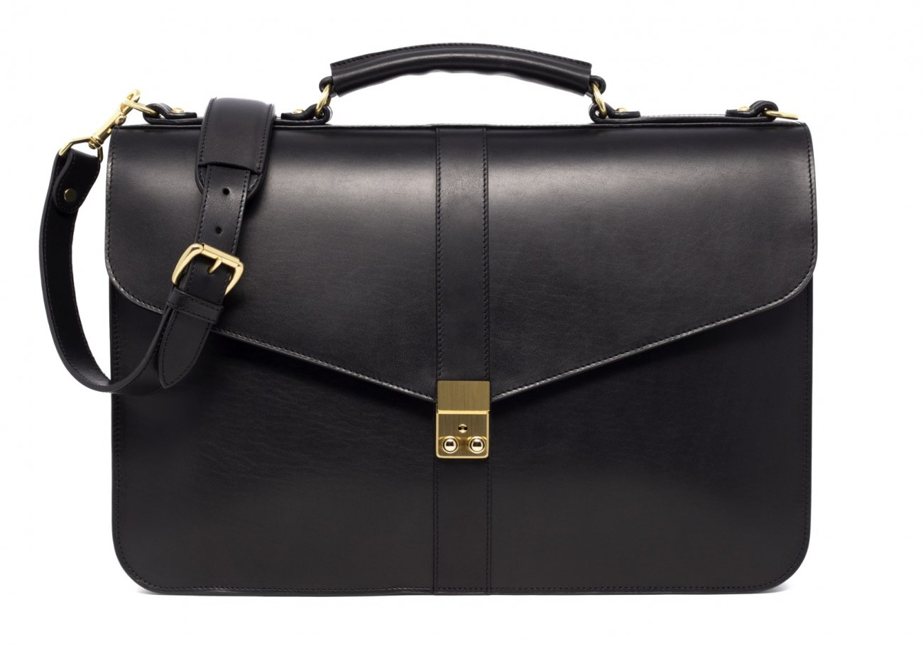 Leather Lock Briefcase Black Leather 3