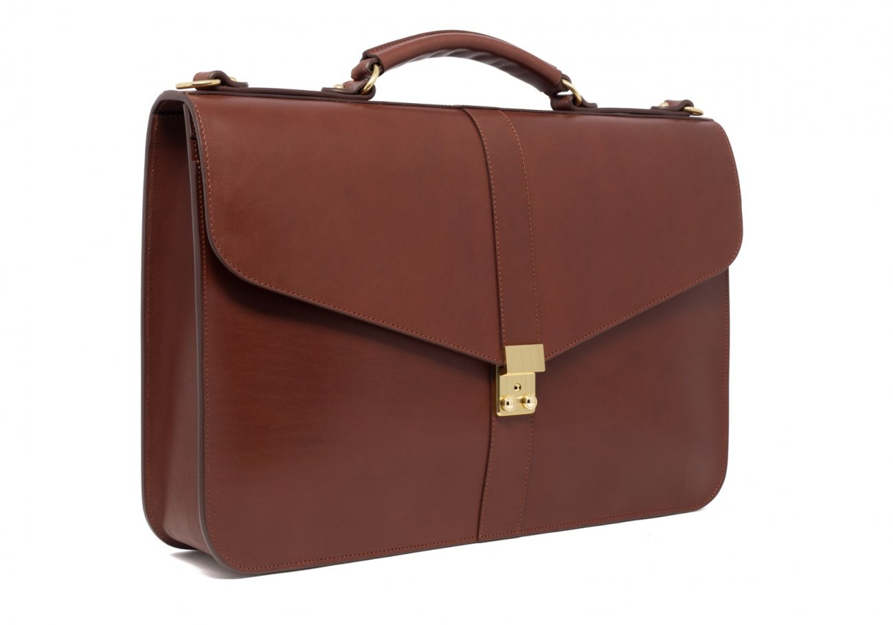 Leather Lock Briefcase Chestnut Leather 4