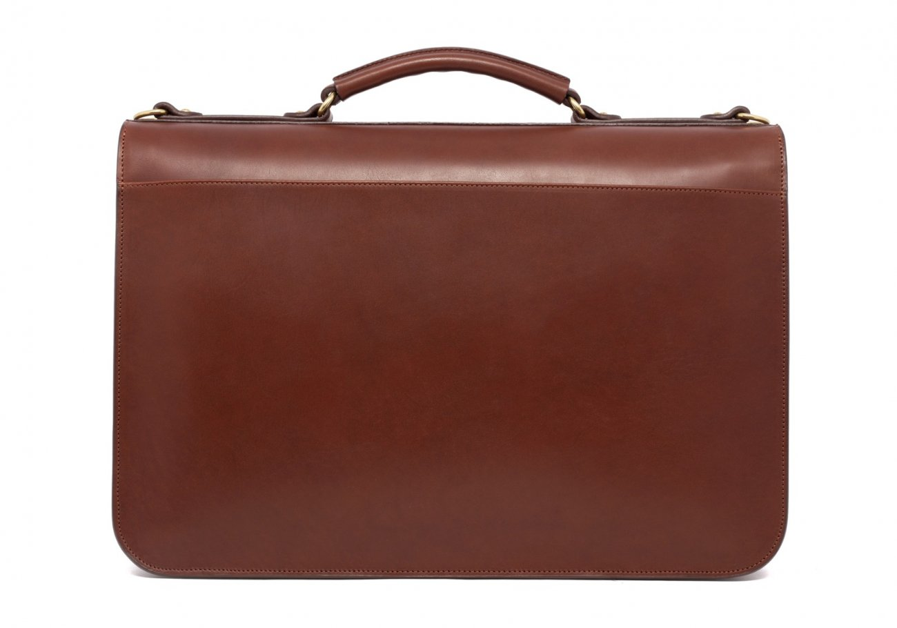 Leather Lock Briefcase Chestnut Leather 5