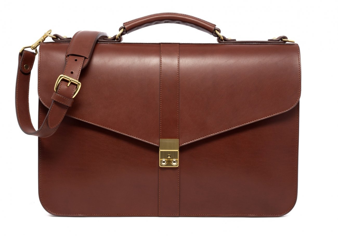 Leather Lock Briefcase Chestnut Leather 6