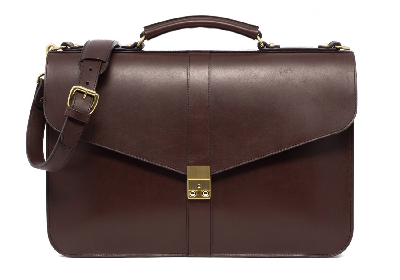 Leather Lock Briefcase Chocolate Leather 3