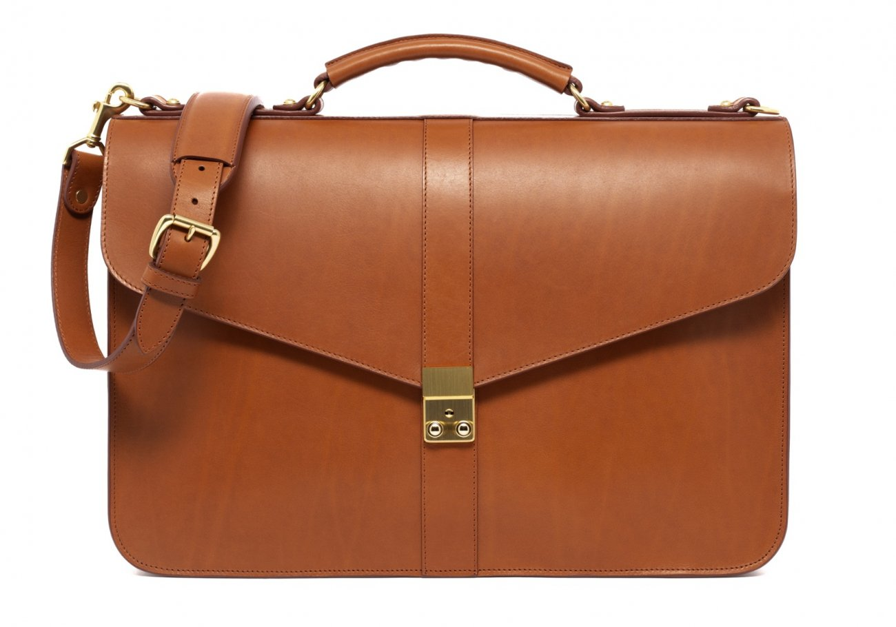 Leather Lock Briefcase Cognac Leather 8