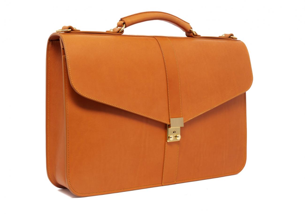 Leather Lock Briefcase Tan Leather 1
