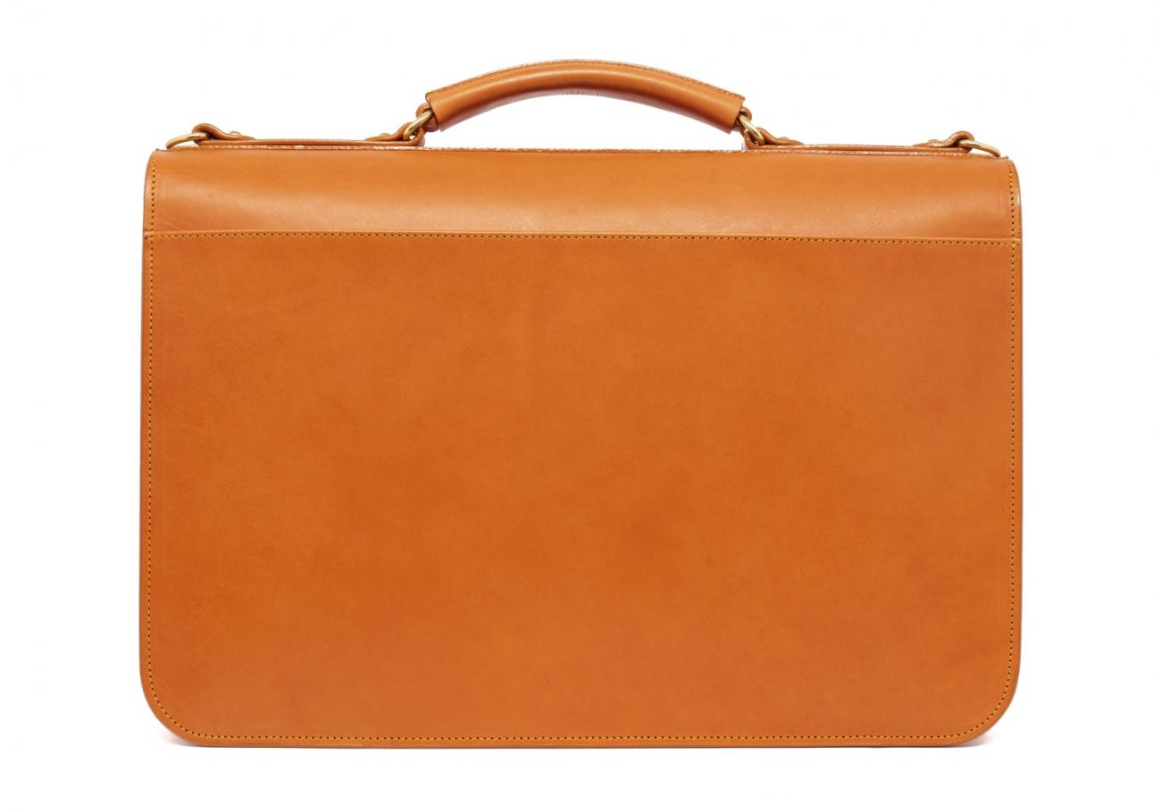 Leather Lock Briefcase Tan Leather 2