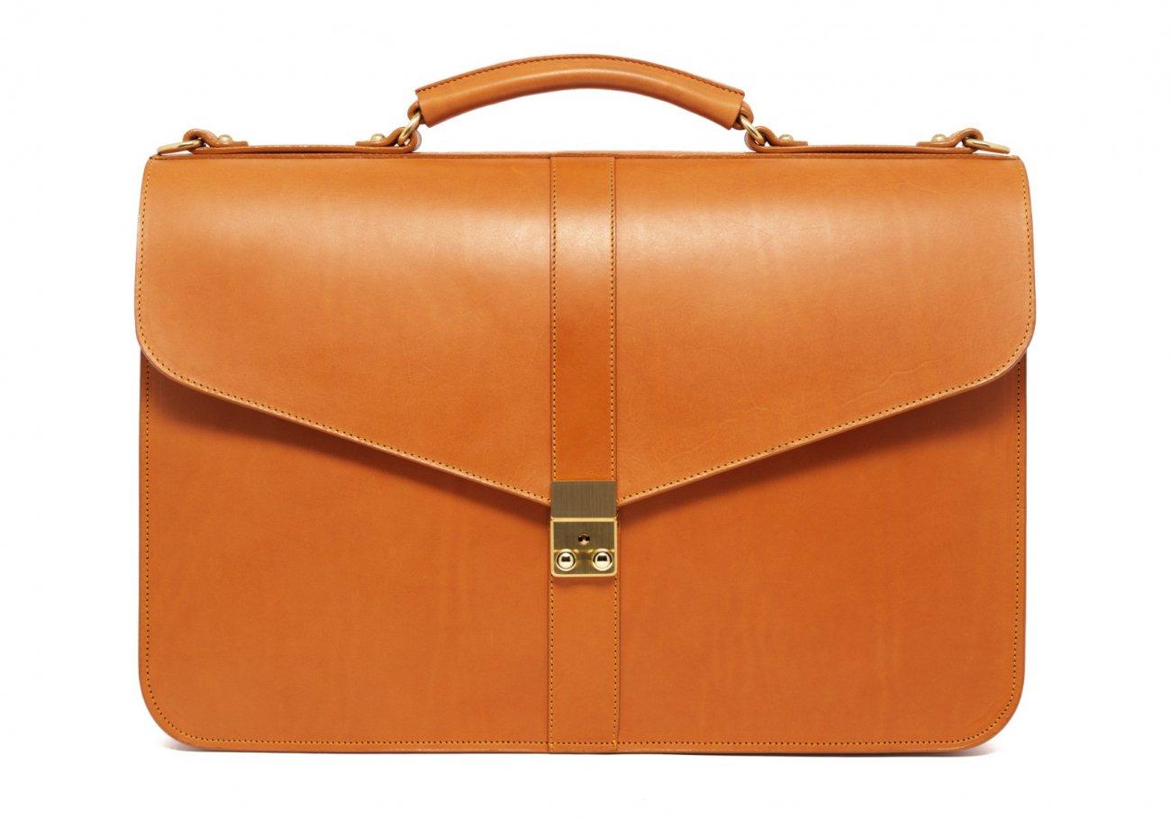Leather Lock Briefcase Tan Leather 4