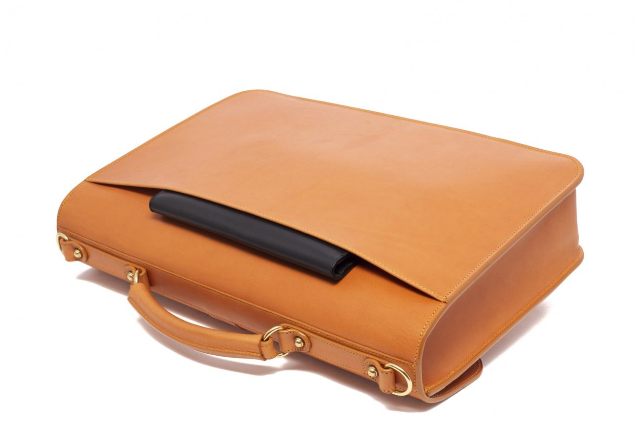 Leather Lock Briefcase Tan Leather 7