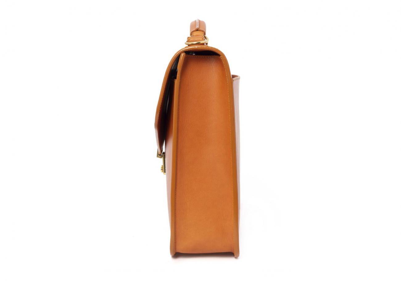 Leather Lock Briefcase Tan Leather 8