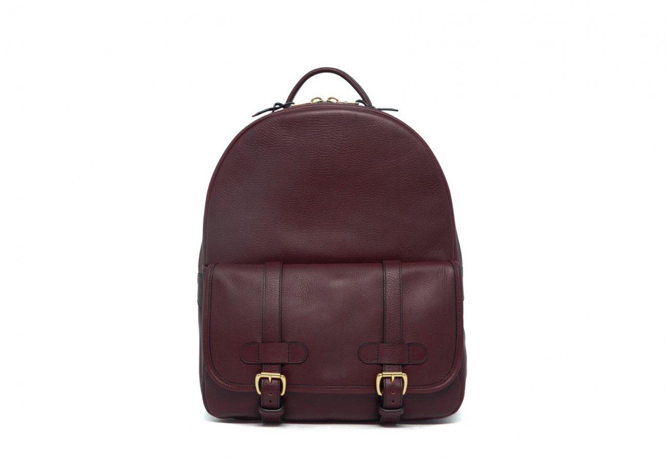 Leather Zipper Backpack Burgundy 1