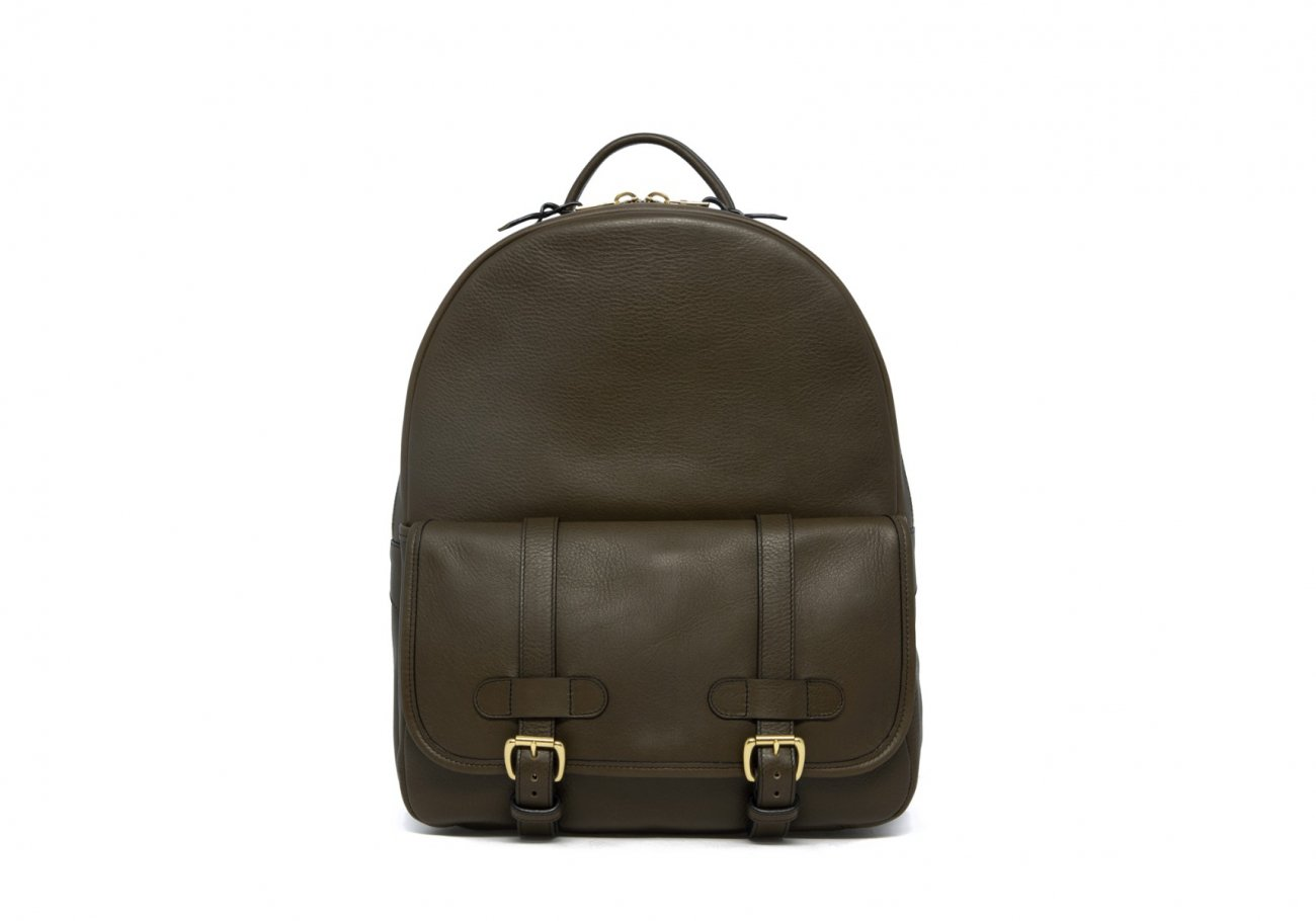 Leather Zipper Backpack Olive 1