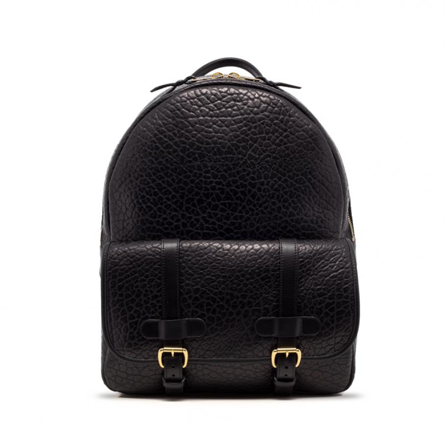 Leather Zipper Backpack Shrunken Black