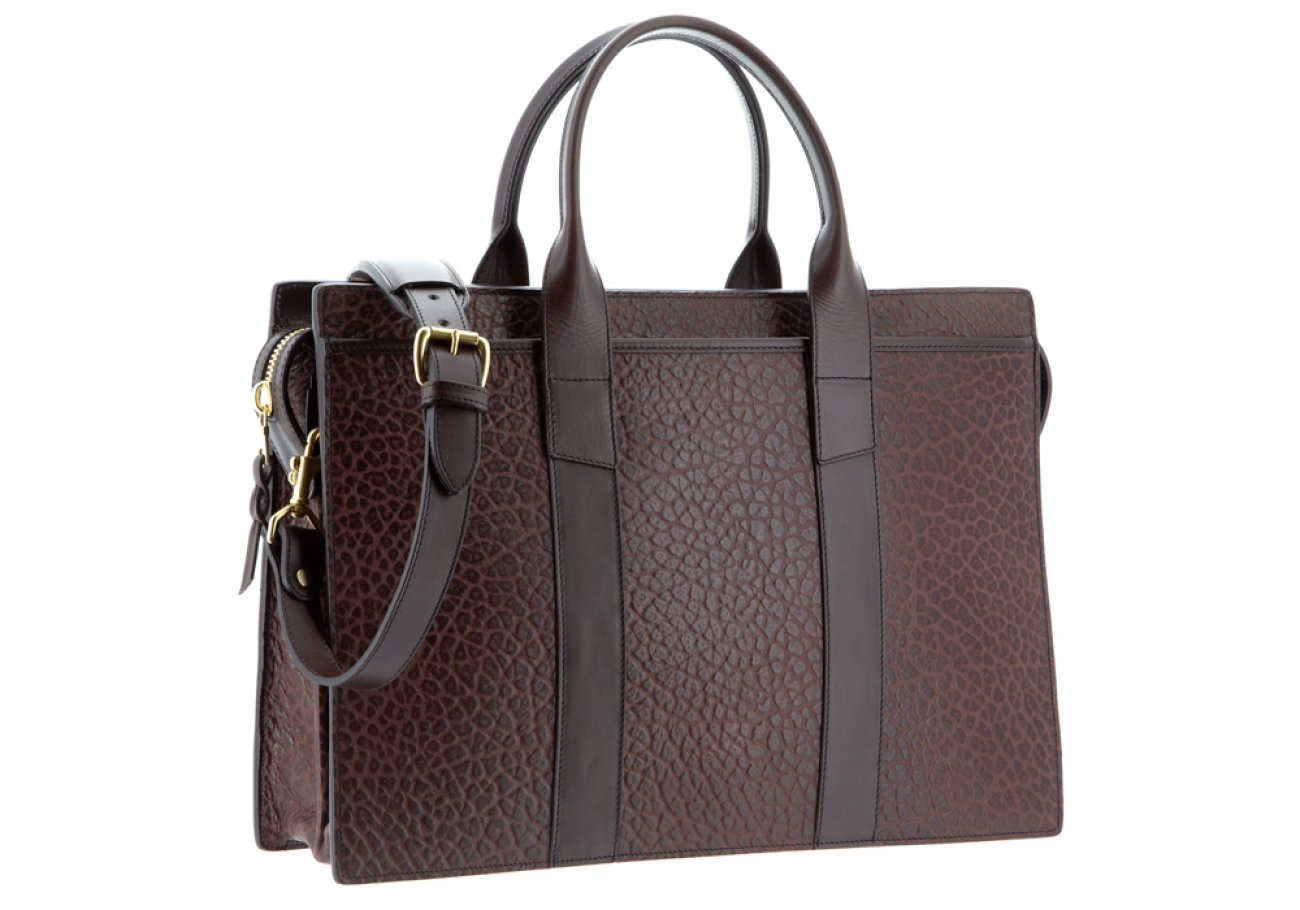 Leather Briefcase Double Zip Top Chocolate Shrunken Grain Leather06