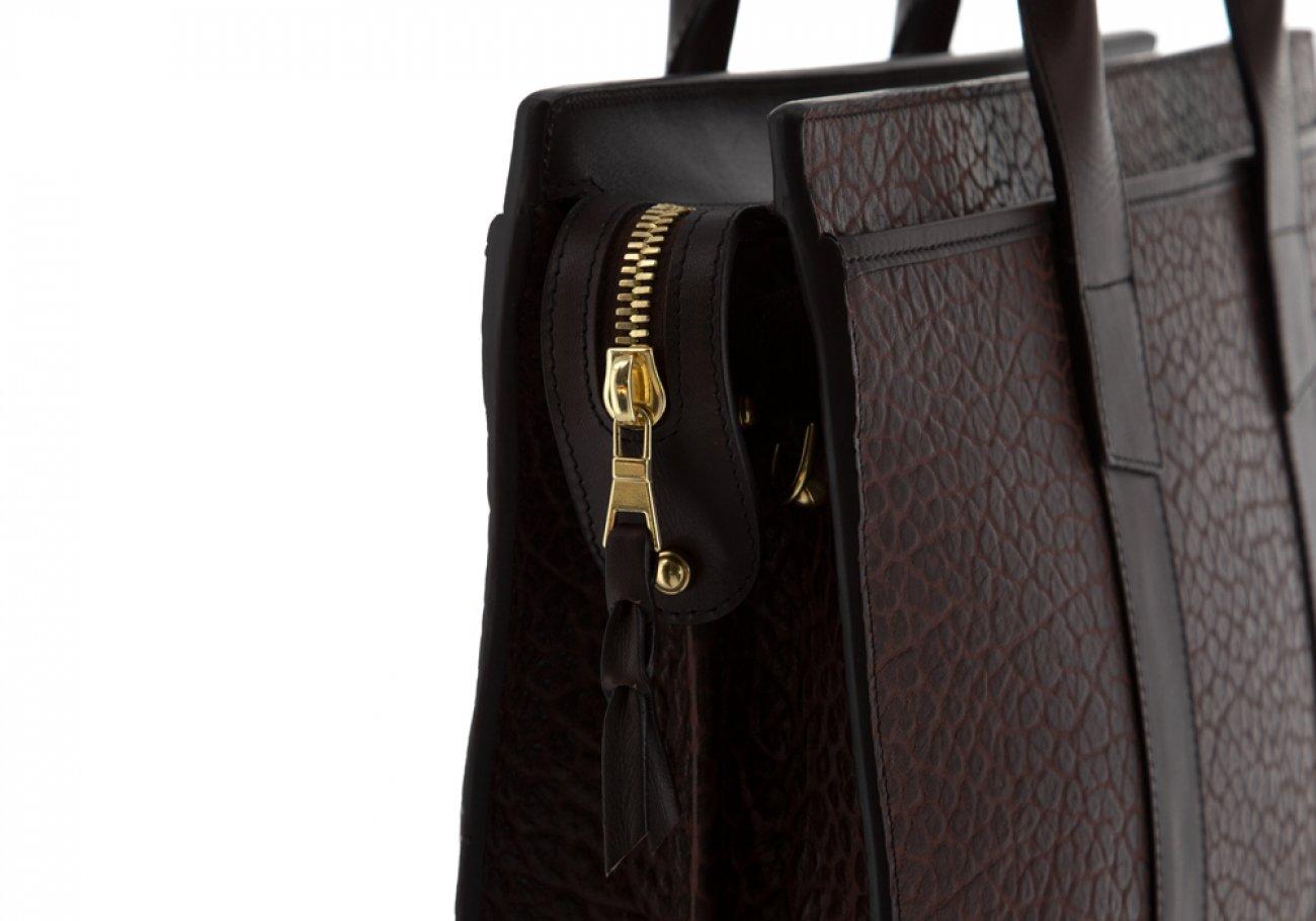 Leather Briefcase Double Zip Top Chocolate Shrunken Grain Leather08
