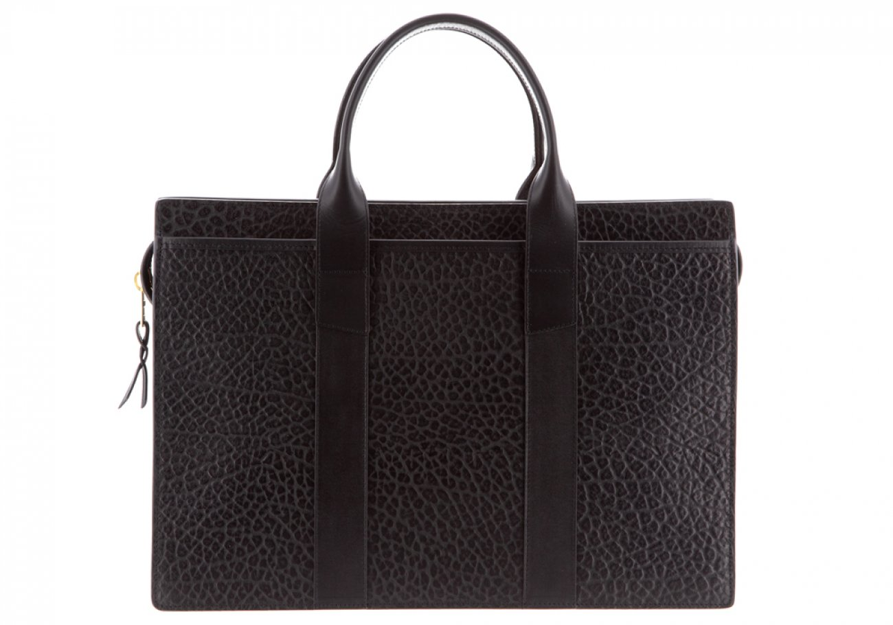 Leather Briefcase Single Zip Top Black Shrunken Grain Leather02