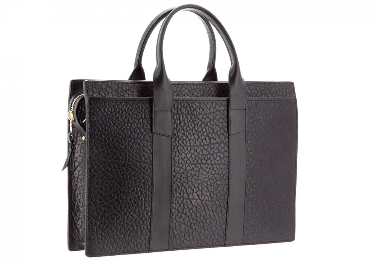 Leather Briefcase Single Zip Top Black Shrunken Grain Leather03
