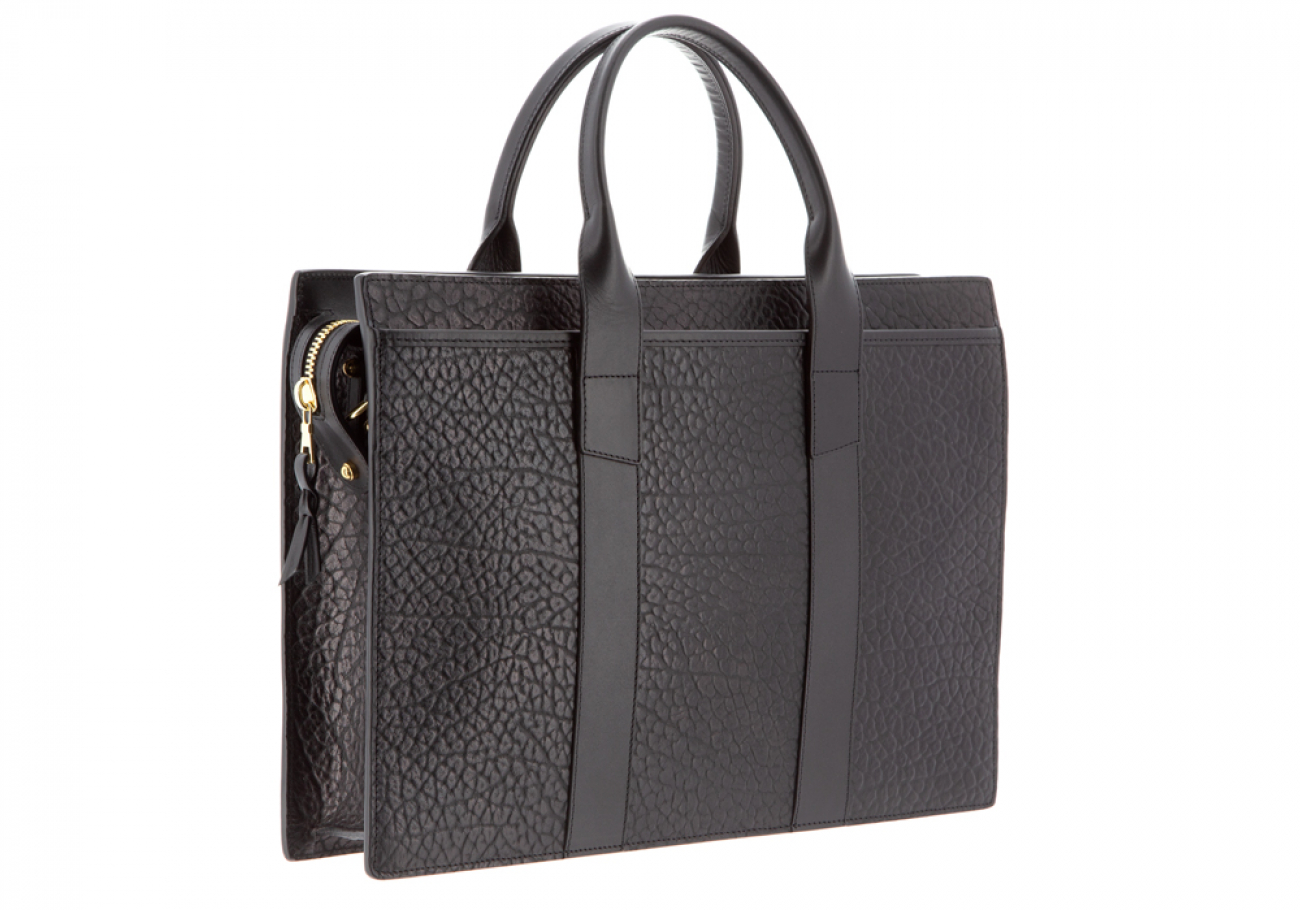Leather Briefcase Single Zip Top Black Shrunken Grain Leather04