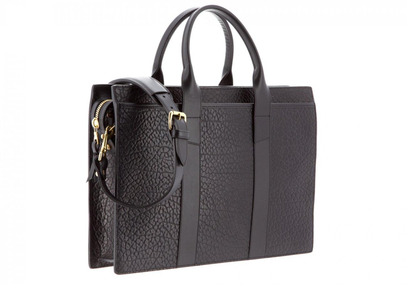 Leather Briefcase Single Zip Top Black Shrunken Grain Leather05