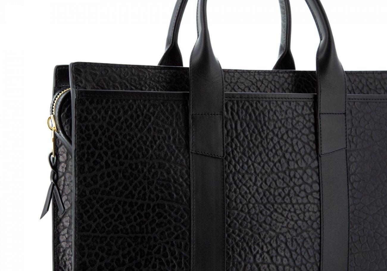 Leather Briefcase Single Zip Top Black Shrunken Grain Leather08