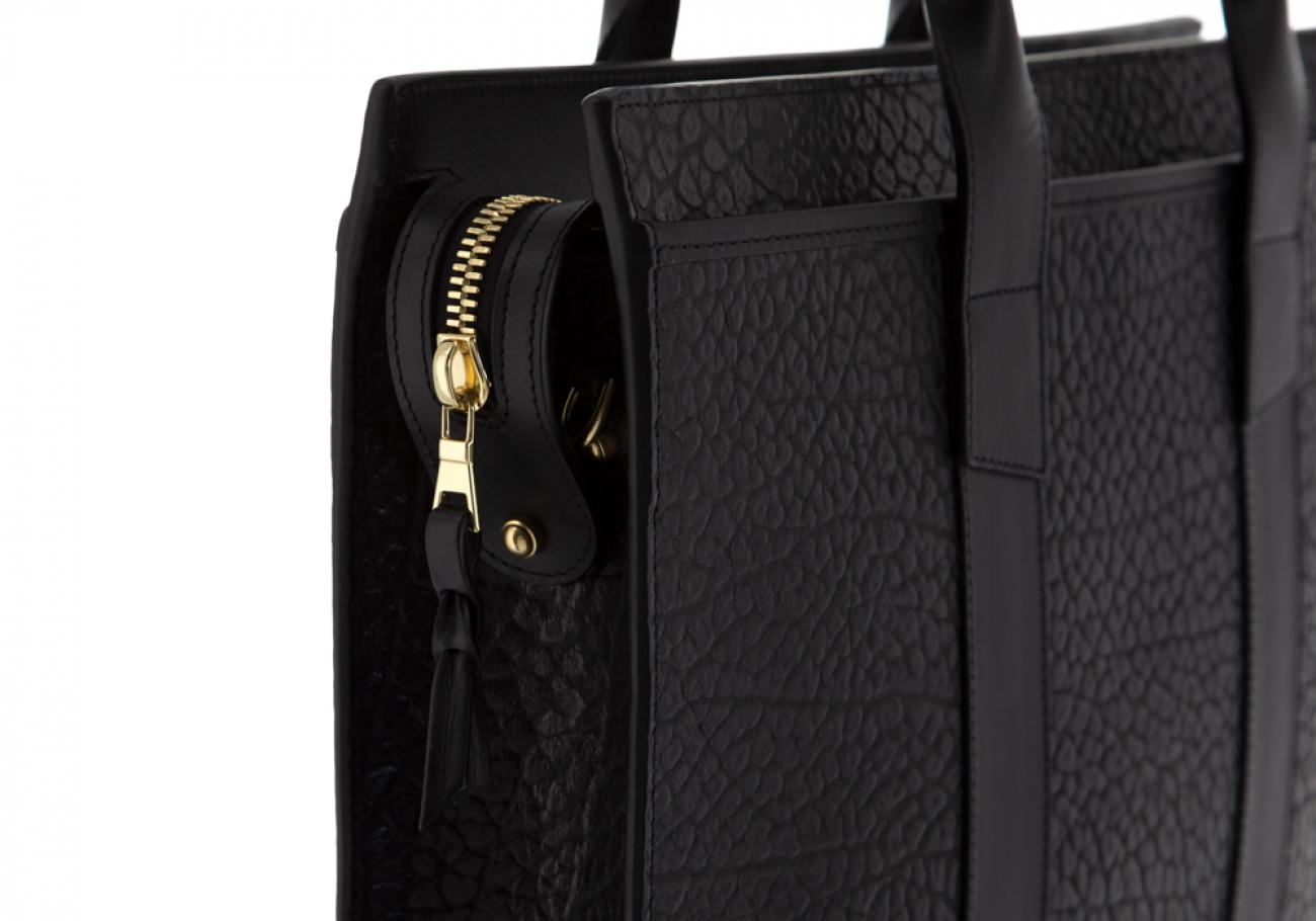 Leather Briefcase Single Zip Top Black Shrunken Grain Leather09