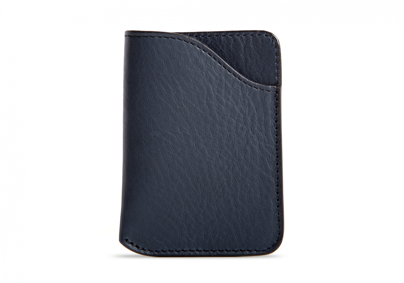 Leather Card Wallet Navy3