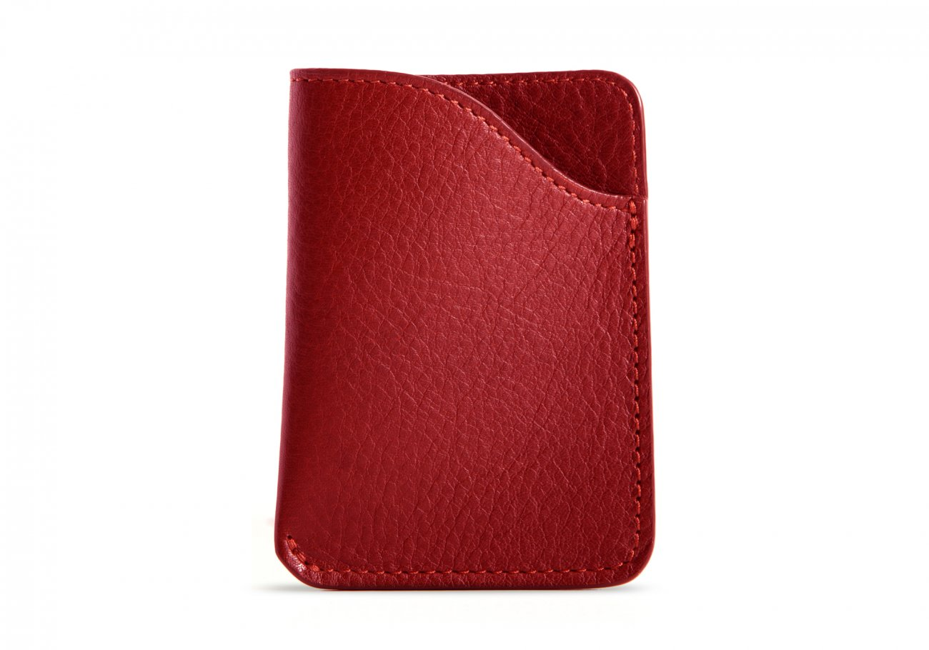 Leather Card Wallet Red3