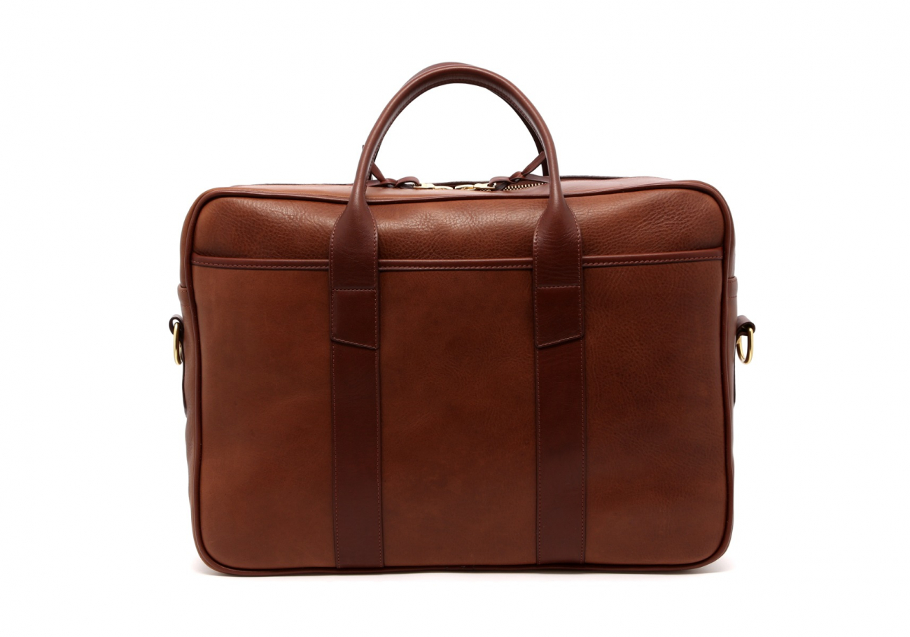 Leather Commuter Briefcase Walnut Leather2