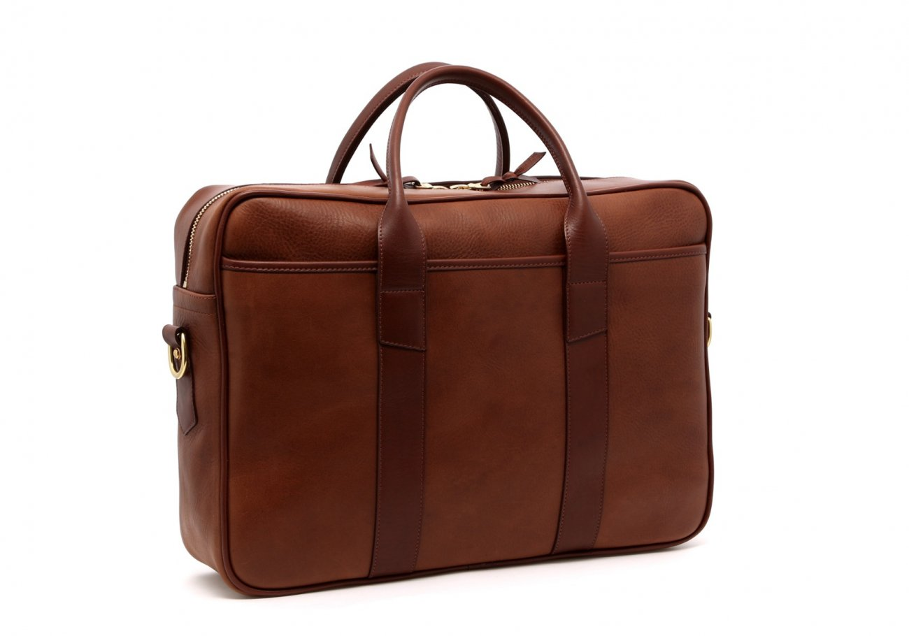 Leather Commuter Briefcase Walnut Leather3