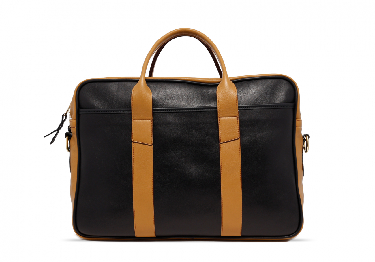 Leather Computer Briefcase Black And Ochre Leather1