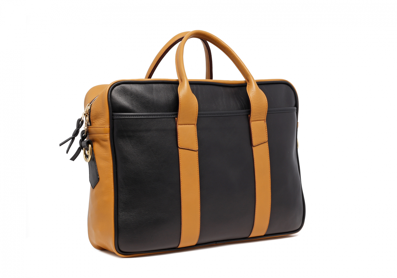 Leather Computer Briefcase Black And Ochre Leather2