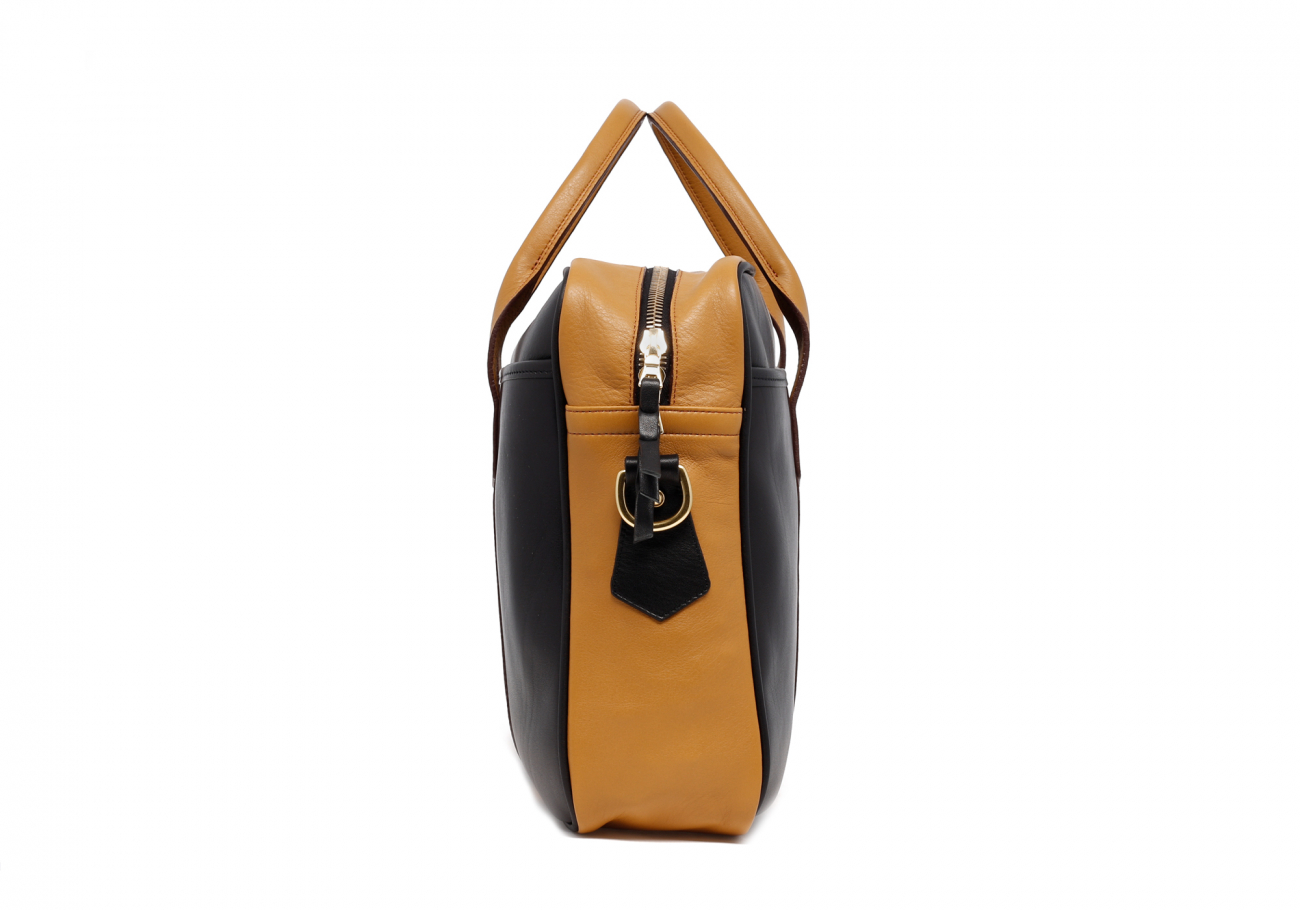 Leather Computer Briefcase Black And Ochre Leather3