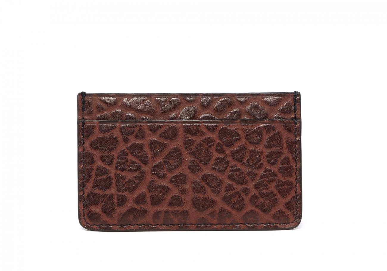 Leather Credit Card Wallet Chocolate Single Slot