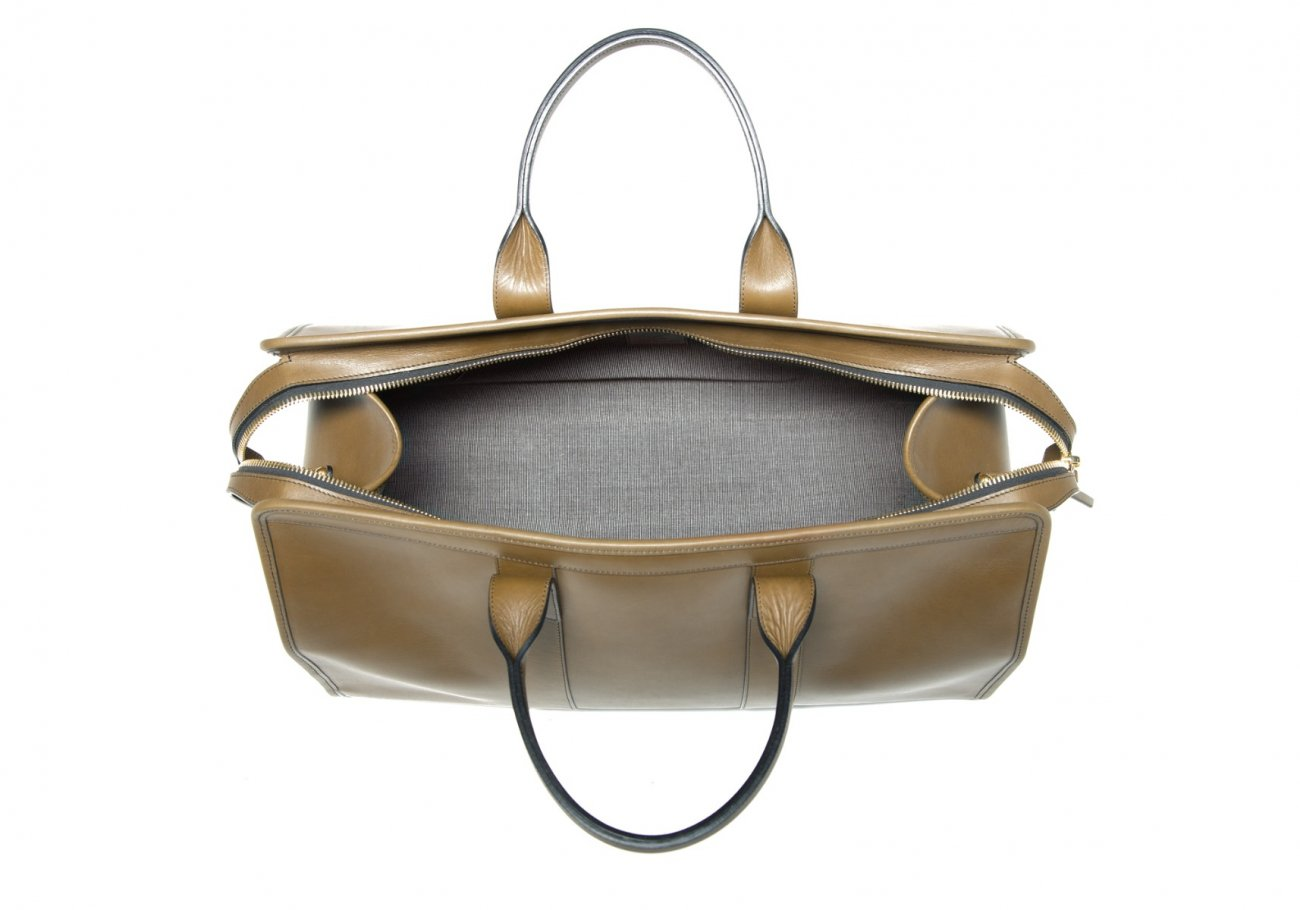 Leather Duffle Bag Harness Olive Leather 7
