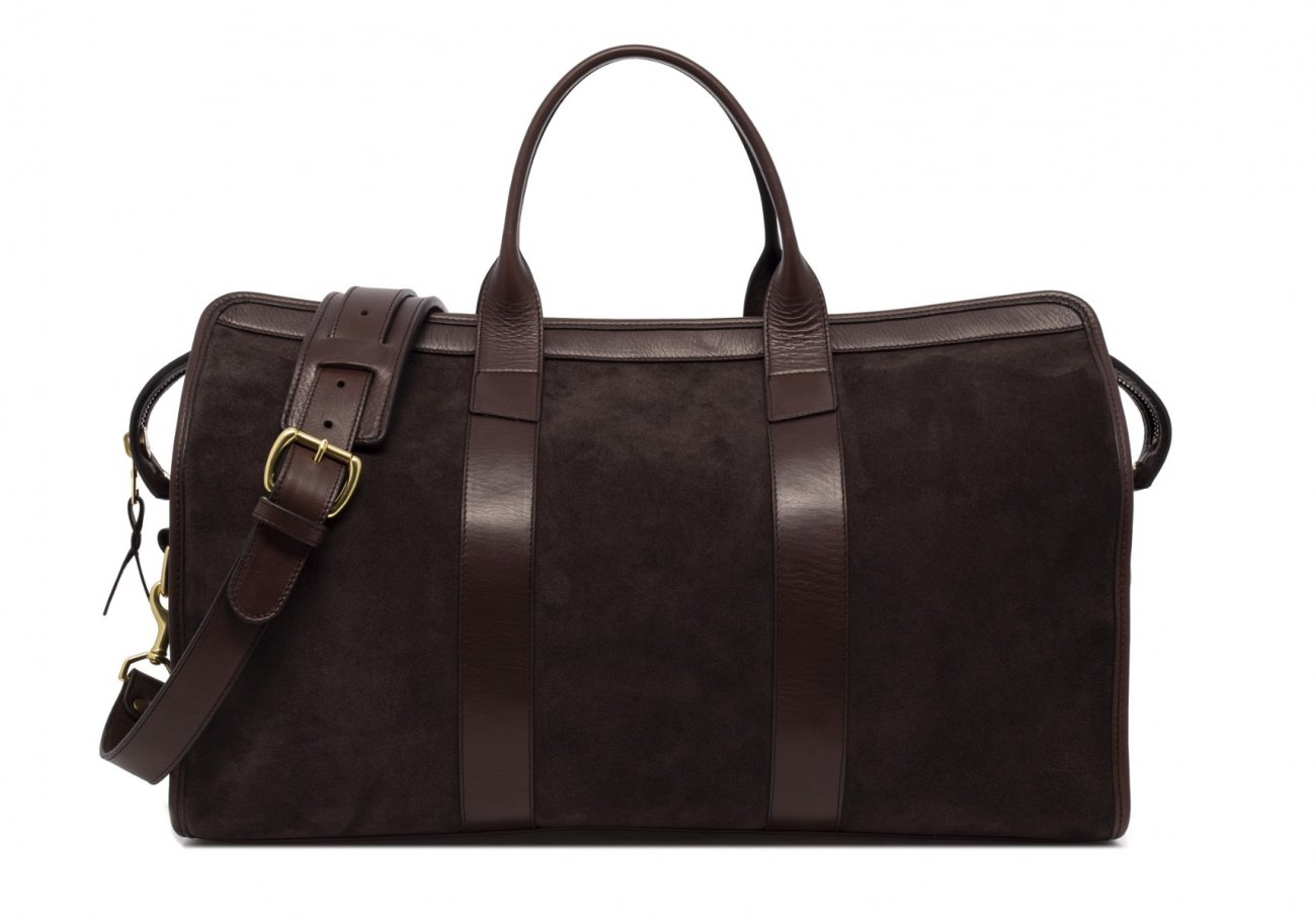 Leather Duffle Bag Suede Chocolate Suede1