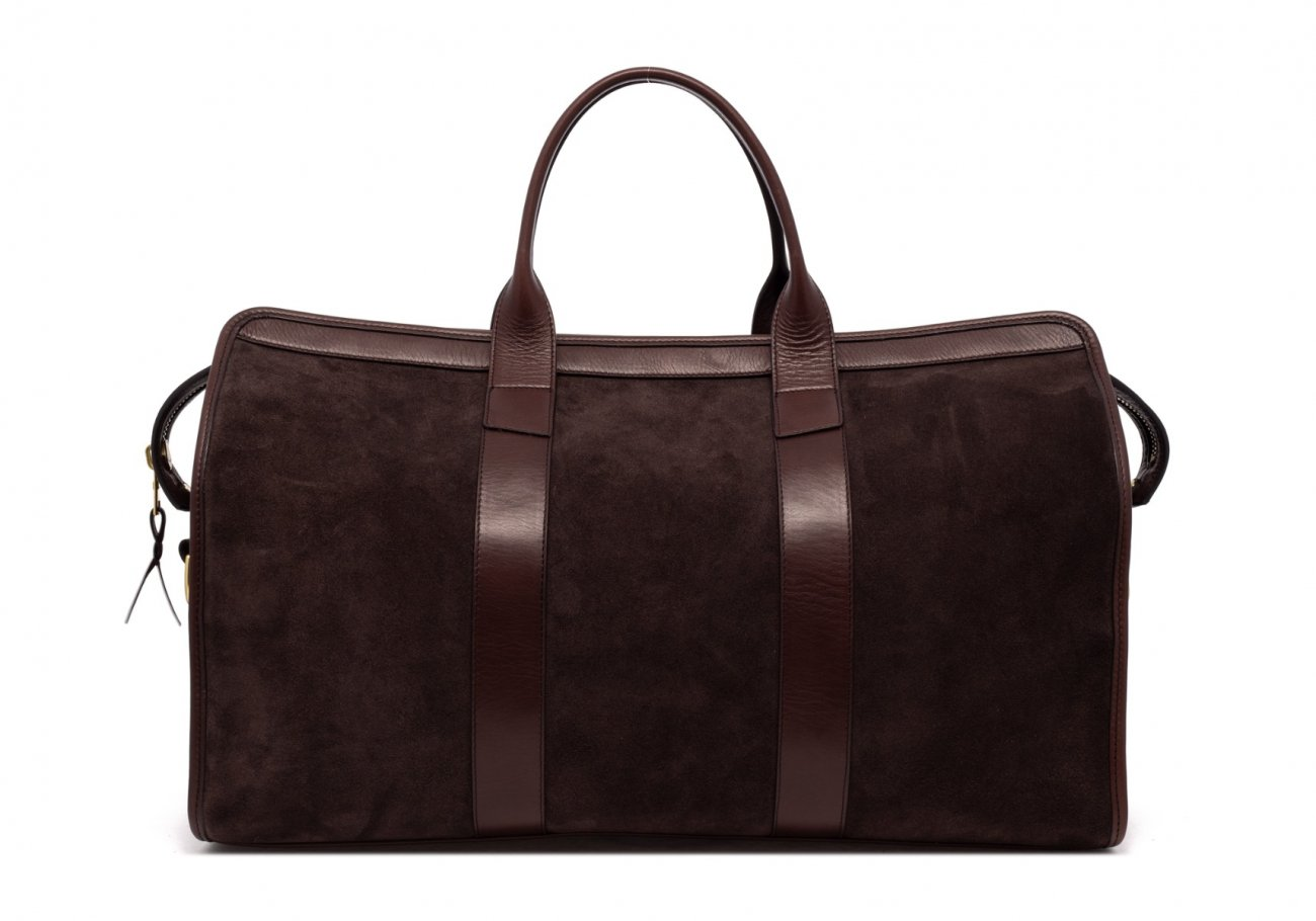 Leather Duffle Bag Suede Chocolate Suede2