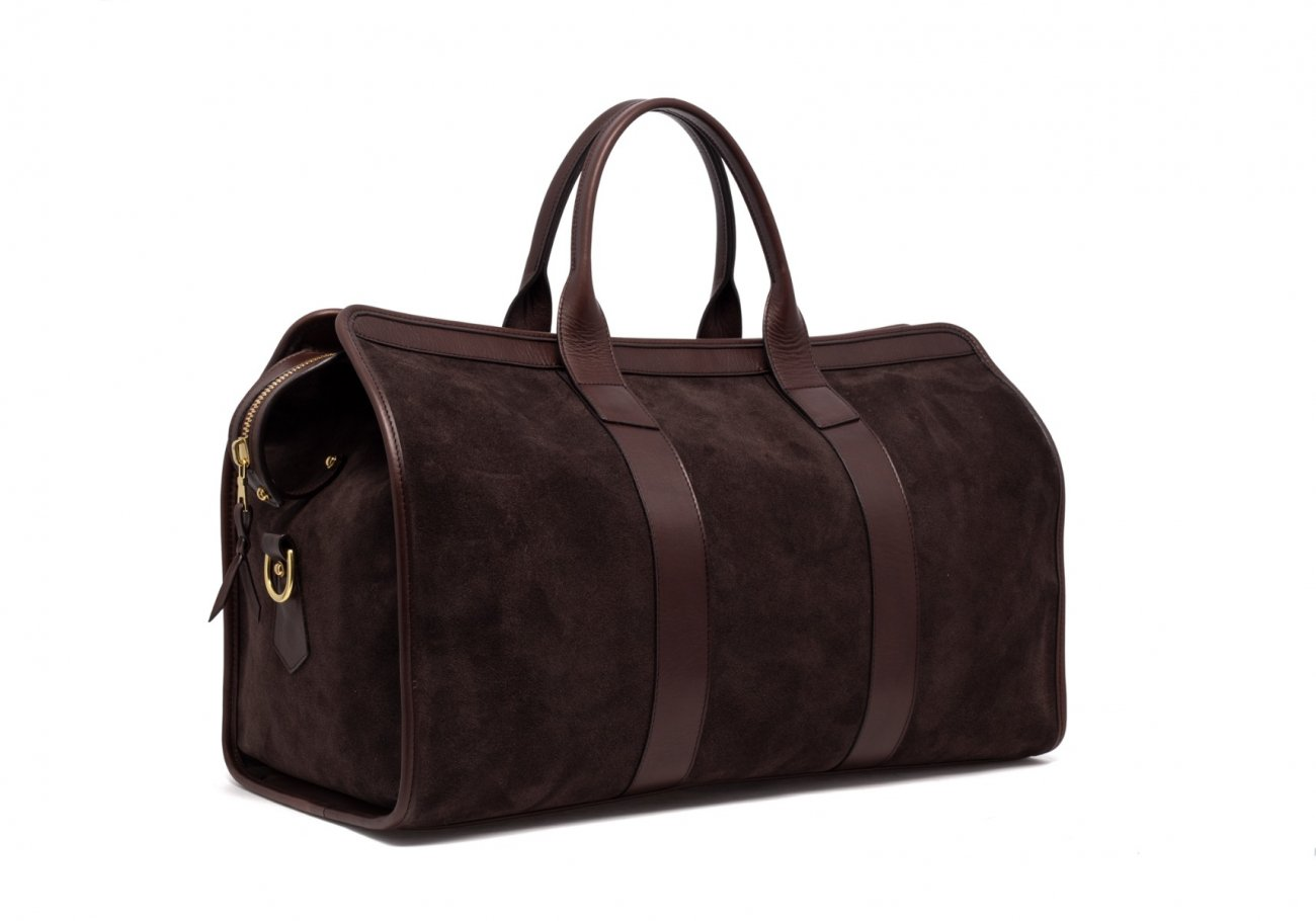 Leather Duffle Bag Suede Chocolate Suede3