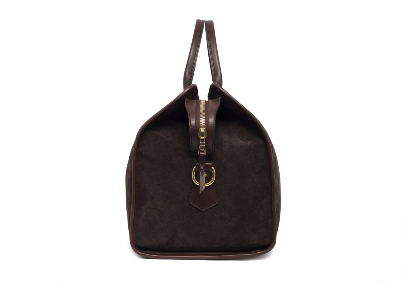Leather Duffle Bag Suede Chocolate Suede4